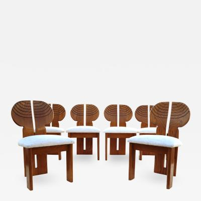 Afra Tobia Scarpa 6 Africa Studio Dining Chairs In The Manner of Afra Tobia Scarpa