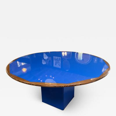 Afra Tobia Scarpa Afra Tobia Scarpa Round Dining Blue and Wood Table Italy 1970s