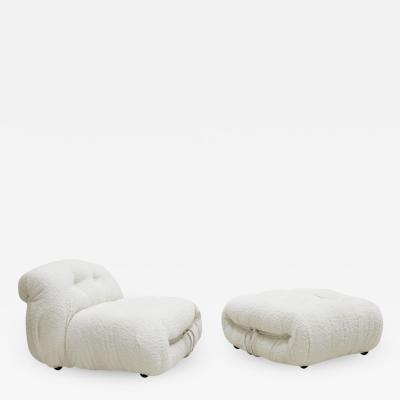 Afra Tobia Scarpa Afra Tobia Scarpa Soriana Chair and Ottoman for Cassina Italy 1960s