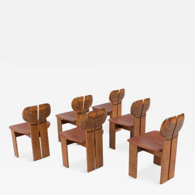 Afra Tobia Scarpa Afra and Tobia Scarpa Africa Chairs With Cognac Leather Seating 1975