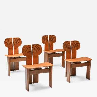 Afra Tobia Scarpa Afra and Tobia Scarpa Africa Chairs with Cognac Leather Seating 1970s