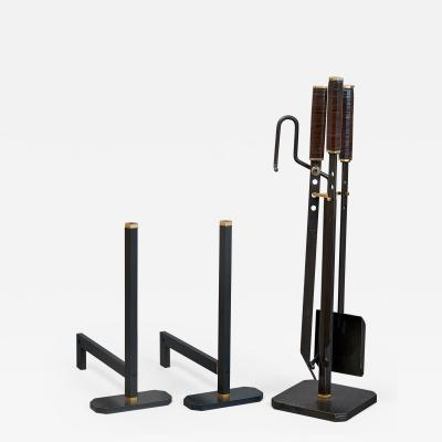 Afra Tobia Scarpa Afra and Tobia Scarpa Fireplace Set with Tools and Andirons