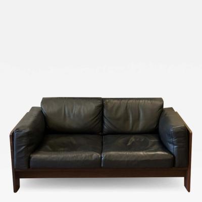 Afra Tobia Scarpa Bastiano Black Leather Sofa with Walnut Frame by Afra Tobia Scarpa