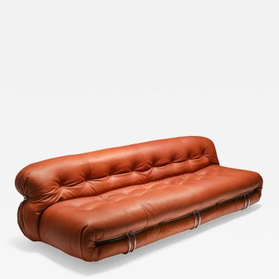 Afra Tobia Scarpa Cassina Soriana Cognac Leather Sofa by Afra and Tobia Scarpa 1970s