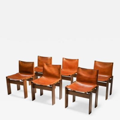 Afra Tobia Scarpa Cognac Leather Monk Dining Chairs by Afra Tobia Scarpa 1970s
