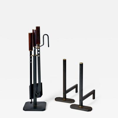 Afra Tobia Scarpa Fireplace Set by Scarpa Andirons and Tools