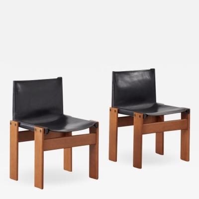Afra Tobia Scarpa Pair of Afra Tobia Scarpa Monk black chairs Molteni Italy 1974