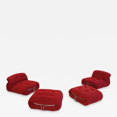 Afra Tobia Scarpa Pair of Soriana Slipper Chairs Ottomans by Tobia Scarpa circa 1970 Italy