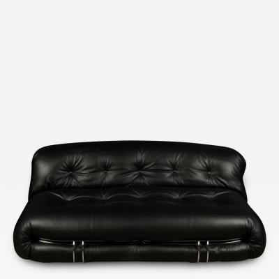 Afra Tobia Scarpa SORIANA TWO SEAT BLACK LEATHER SOFA BY AFRA AND TOBIA SCARPA FOR CASSINA