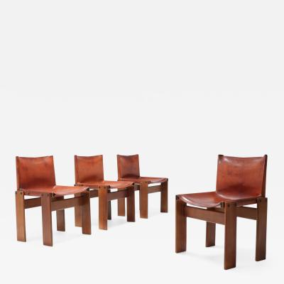 Afra Tobia Scarpa Scarpa Monk Chairs in Patinated Cognac Leather Set of Four 1970s