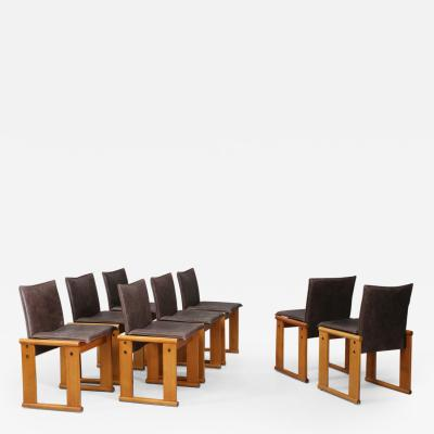 Afra Tobia Scarpa Set of Eight chairs with wooden frame and leather upholstery of the Monk series
