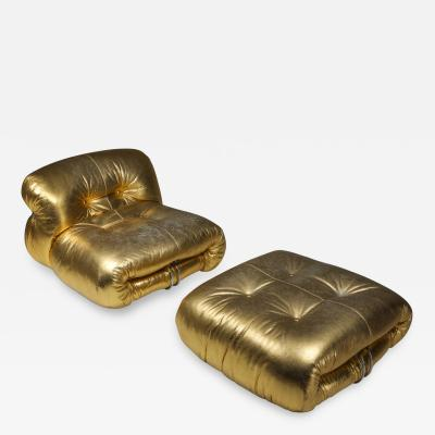 Afra Tobia Scarpa Soriana Lounge Chair in Gold by Afra Tobia Scarpa 1969