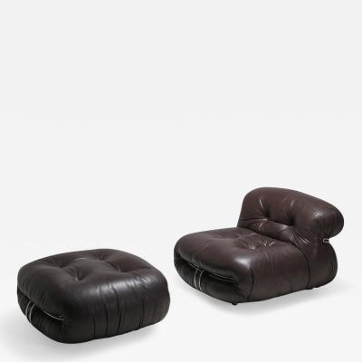 Afra Tobia Scarpa Soriana Lounge Chairs in Dark Brown Leather by Afra Tobia Scarpa 1969