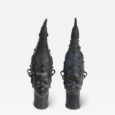 African Benin Bronzes of Queen Edo the Iyoba Nigeria Monumental circa 1950