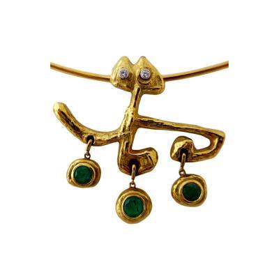 Afro Basaldella Masenza Roma Gold and Emerald Choker Attributed to Afro Basaldella circa 1955