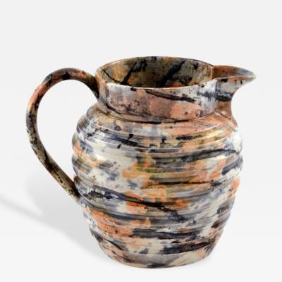 Agateware Style Ceramic Pitcher Vintage
