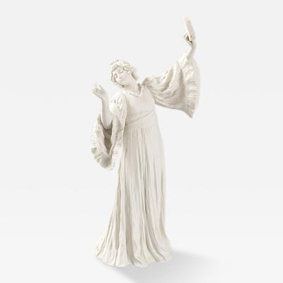 Agathon L onard French Art Nouveau Bisque Ceramic Sculpture Danseuse Tambourin Droite