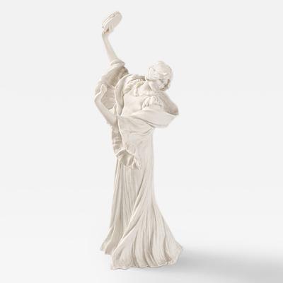 Agathon L onard French Art Nouveau Bisque Ceramic Sculpture Danseuse Tambourin Gauche