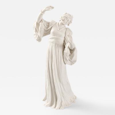 Agathon L onard French Art Nouveau Bisque Ceramic Sculpture titled Danseuse Foulard Gauche