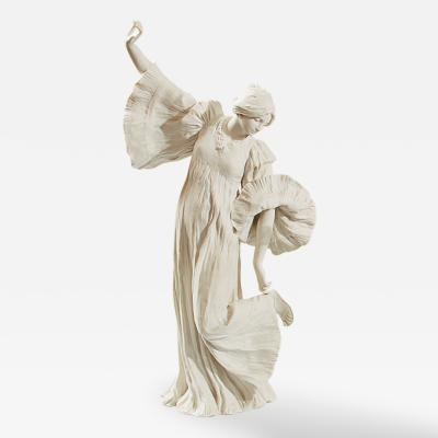 Agathon L onard French Art Nouveau Bisque Ceramic Sculpture titled Danseuse au Cothurne