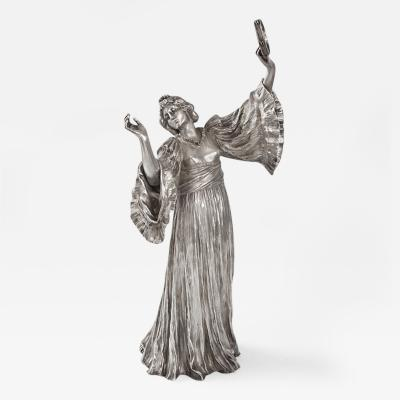 Agathon L onard French Art Nouveau Silvered Figural Sculpture by Leonard