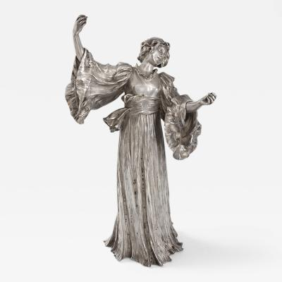 Agathon L onard French Art Nouveau Silvered Figural Sculpture by Leonard