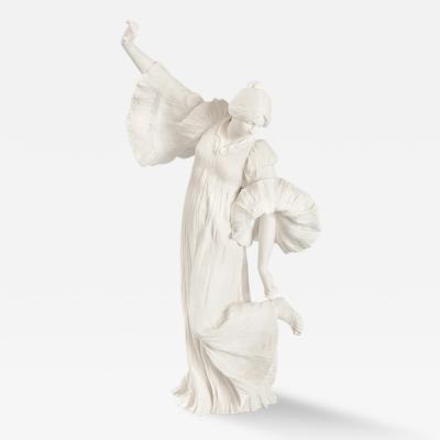 Agathon Leonard Art Nouveau Bisque Ceramic Sculpture by Agathon Leonard Danseuse au Cothurne
