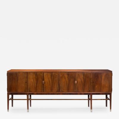Agner Christoffersen Elegant Danish Pewter and Rosewood Sideboard Cabinet