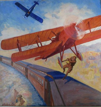 Airplane Action Comic Book Cover Painting