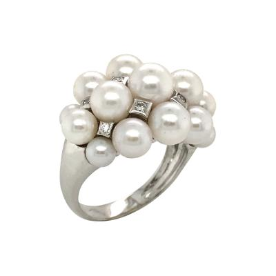 Akoya Cultured Pearls and White Diamonds on White Gold 18 Karat Dome Ring