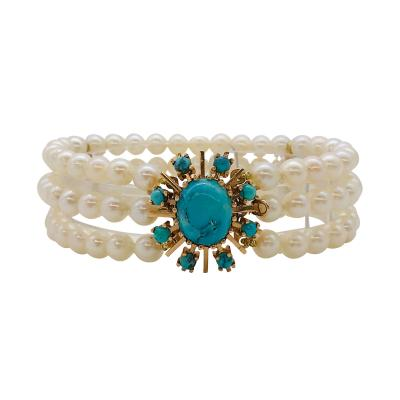 Akoya Pearl Bracelet with Turquoise and Yellow Gold 18 Karat