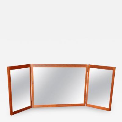 Aksel Kjersgaard Teak Tri Fold Vanity Dresser or Wall Mirror by Aksel Kjersgaard