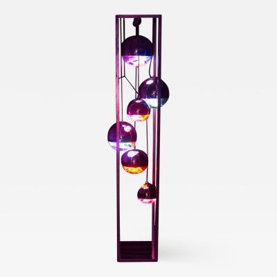 Al Jord o Contemporary Neon Balls Stand Lamp by Brazilian designer Al Jord o