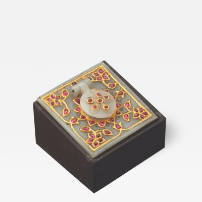 Al Thani Collection a Mughal Indian Square White Jade Inkwell Cover circa 1800