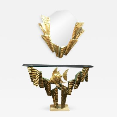 Alain Chervet Brass Coral Console and Mirror by Alain Chervet