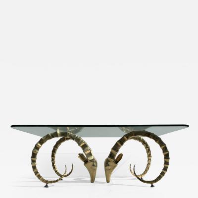 Alain Chervet Brass Ibex Ram Coffee Table