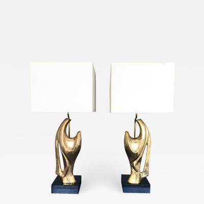 Alain Chervet Pair of Bronze Lamps by Alain Chervet France 1970s