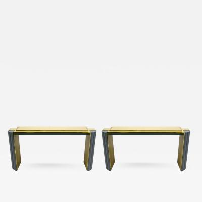 Alain Delon 1970s Pair of Alain Delon for Maison Jansen Console Tables