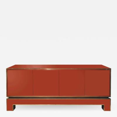 Alain Delon Alain Delon Chic Red Credenza with Brass Trim 1970s signed