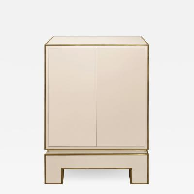 Alain Delon Jansen 2 Door Cabinet in Ivory Lacquer with Brass Trim 1975 Signed