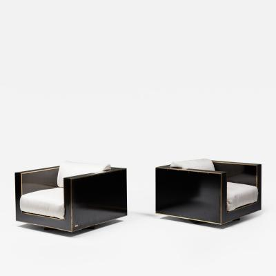 Alain Delon Maison Jansen Pair of Cubic Lounge Chairs in Black and Brass Hollywood Regency