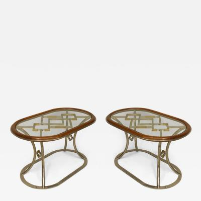 Alain Delon Pair of French Post War Design 1970s Oval Coffee Tables