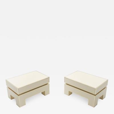 Alain Delon Pair of white lacquer brass end tables by Alain Delon for Maison Jansen 1975