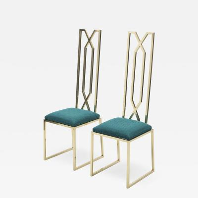 Alain Delon Rare pair of brass chairs signed by Alain Delon for Jean Charles 1970s
