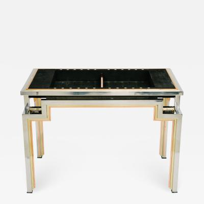 Alain Delon Tri Metal Backgammon Table by Alain Delon for Maison Jansen