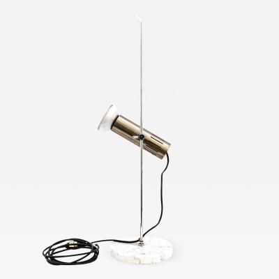 Alain Richard Chromed Metal And Marble Table Lamp By Alain Richard