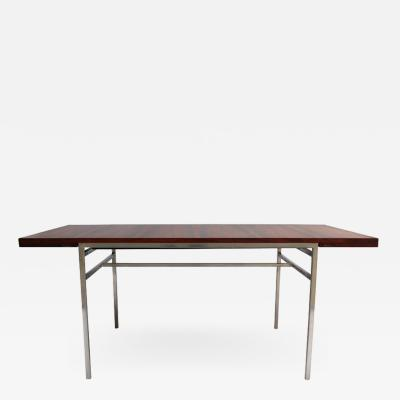 Alain Richard FINE FRENCH 1950S EXTENDABLE CHROME AND ROSEWOOD TABLE BY ALAIN RICHARD