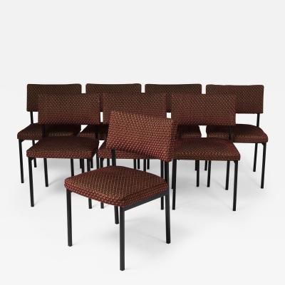 Alain Richard Set of eight chairs by Alain Richard France around 1960