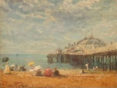 Alan Maley 20th Century Oil Painting The Brighton Pier Signed Maley