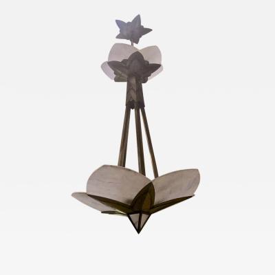 Albert Cheuret Albert Cheuret alabaster and silvered bronze 3 tier chandelier